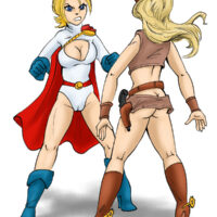 Power Girl and Outlaw in a catfight xl-toons.win