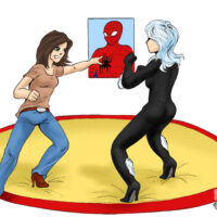 MJ and Black Cat fight for Spiderman xl-toons.win