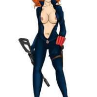 Black Widow plays with guns, toys and her killer body xl-toons.win