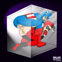 Captain America and Harley Quinn fucking inside a plastic cube! xl-toons.win