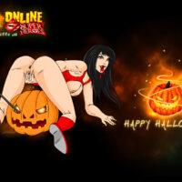 Have a Happy Halloween Wallpaper with Vampirella! xl-toons.win